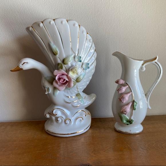 Vintage Swan Rose Ceramic Set